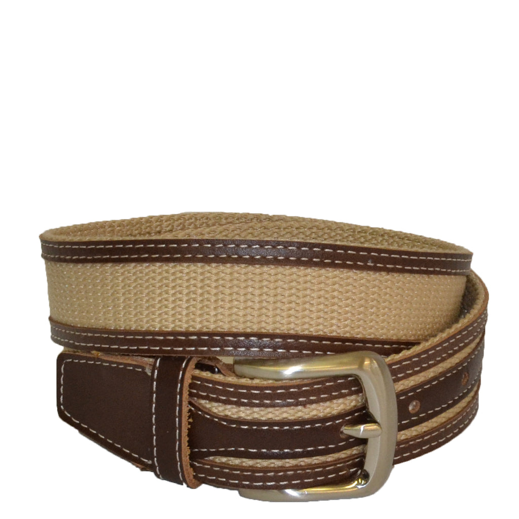 BYRON - Cotton Canvas Men's Brown Leather Belt - Belt N Bags