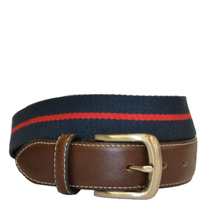 DUKE - Cotton Canvas Men's Navy and Red Stripe Leather Belt - BeltNBags