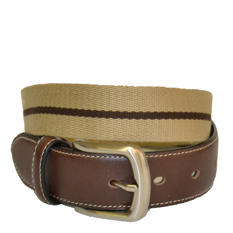 DUKE - Cotton Canvas Men's Brown Single Stripe Leather Belt - BeltNBags