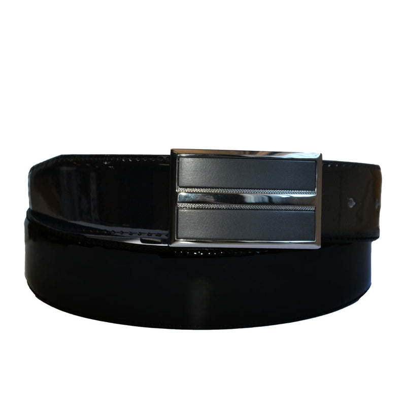 WILLIAM- Men's Black Patent Genuine Leather Belt with Shield Buckle  - Belt N Bags