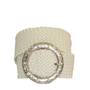 OLIVIA - White Girls Wide Belt with Silver Buckle - BeltNBags
