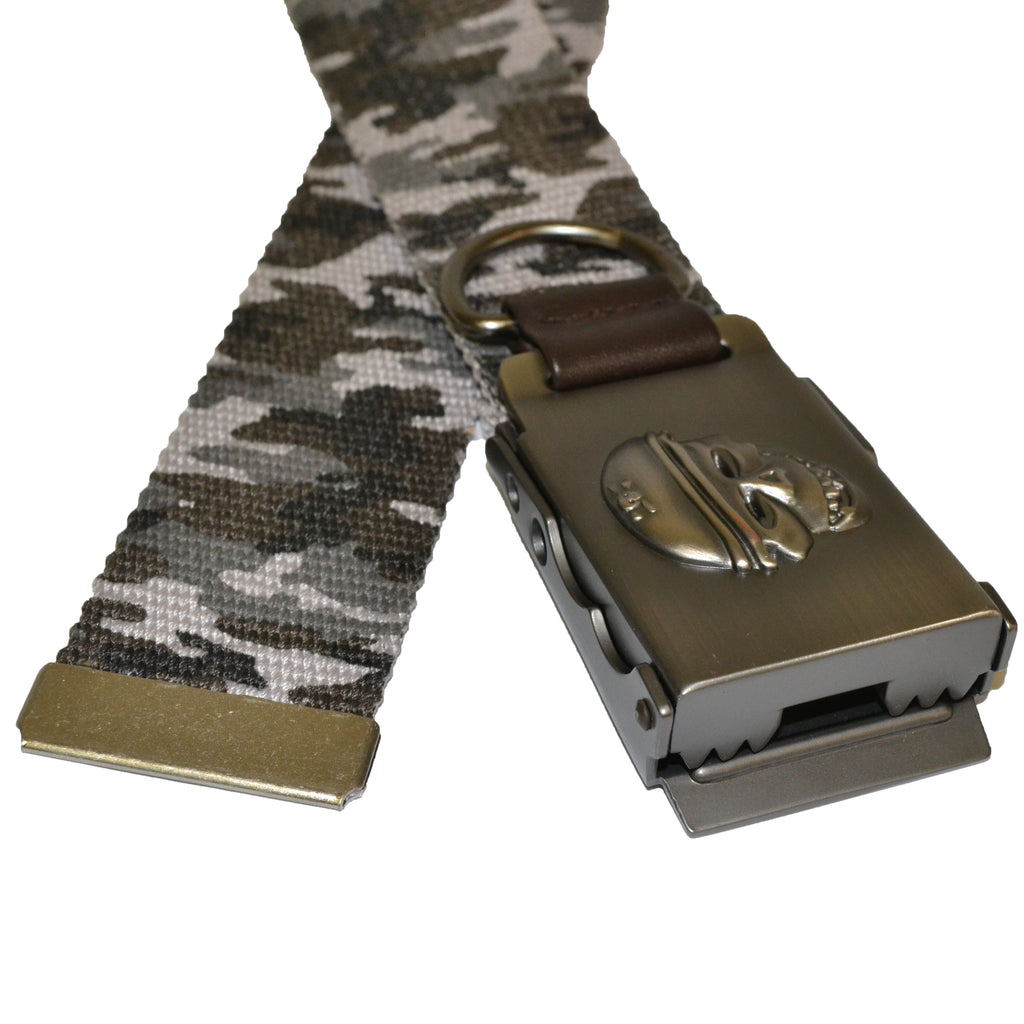 Boys Grey Cotton Military Belt with Silver Slide Buckle - Belt N Bags