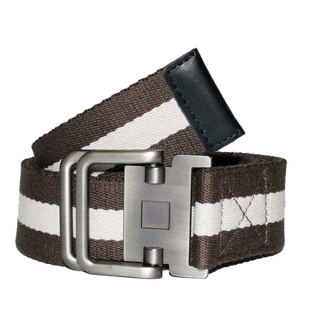 ZEUS - Mens Brown Cotton Canvas Webbing Belt with Slide Through Buckle - BeltNBags