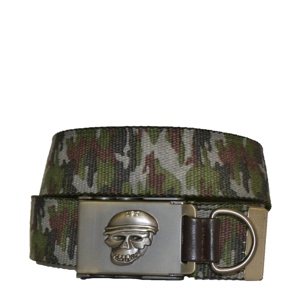 Boys Green Cotton Military Belt with Silver Slide Buckle - Belt N Bags