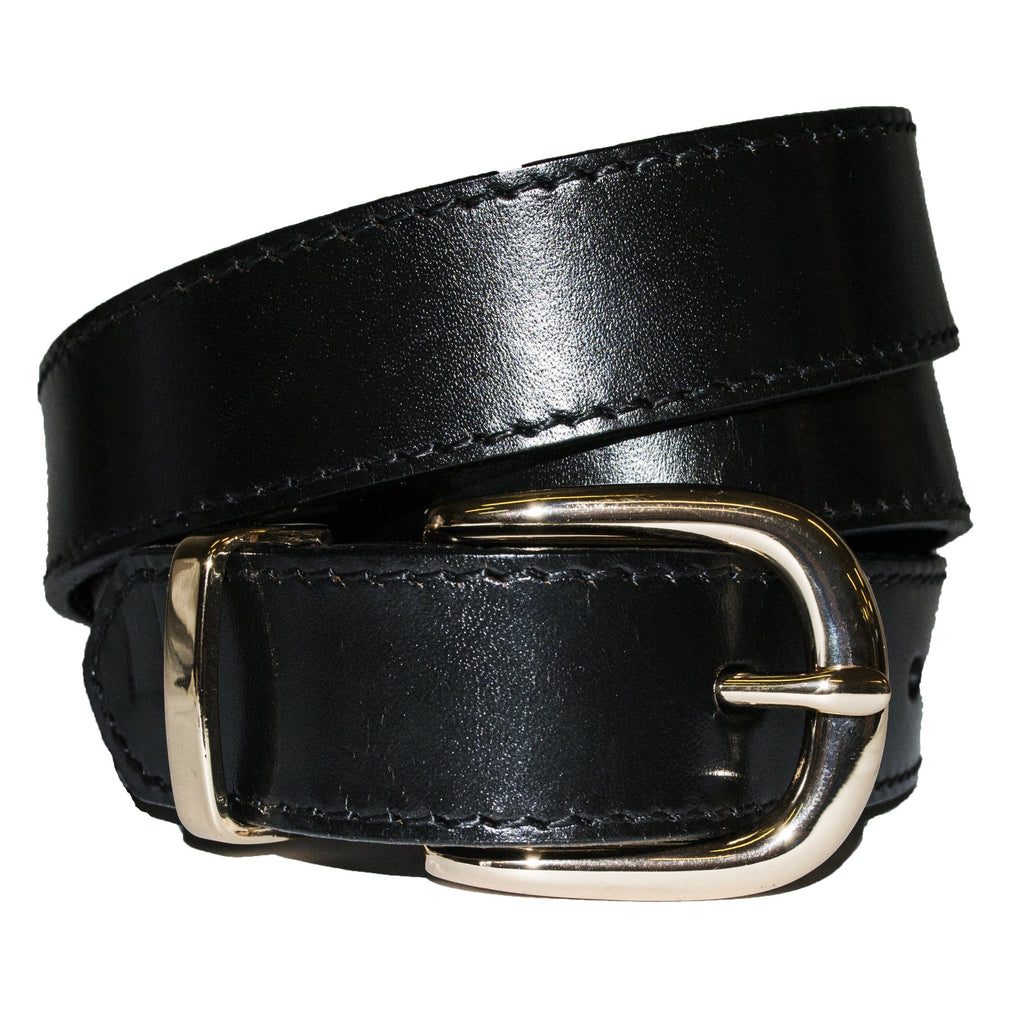 POINT PIPER - Addison Road Black Genuine Leather Belt with Gold Buckle - BeltNBags