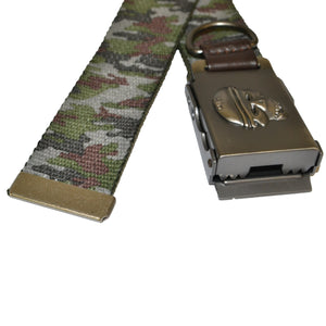 Boys Green Cotton Military Belt with Silver Slide Buckle - BeltNBags