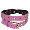 AMARA - Girls Pink and Brown Eyelet Skinny Belt Combo Pack  - Belt N Bags