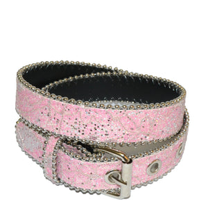 Girls Pink and White Glittery Belt Twin Pack - BeltNBags
