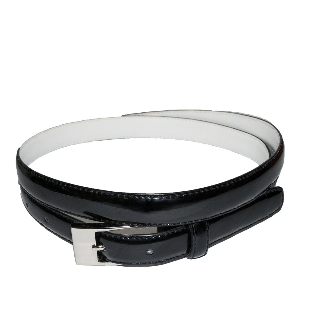 LACEY - Womens Black Leather Slim Patent Belt  - Belt N Bags