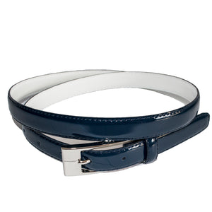 Lacey - Womens Navy Genuine Leather Patent Belt - BeltNBags
