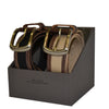BYRON - Cotton Canvas Men's Black and Brown Leather Belt Gift Pack - Belt N Bags