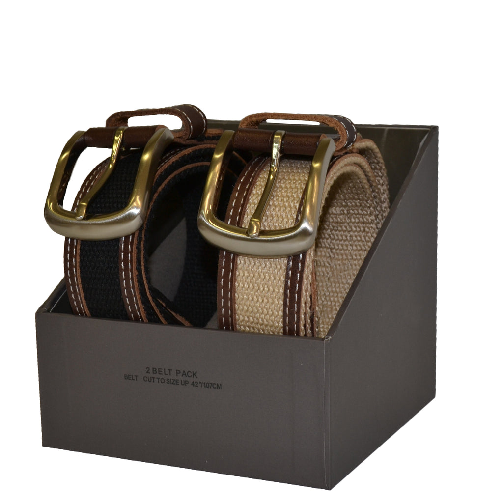 Cotton Canvas Men's Black and Brown Leather Belt Gift Pack - Belt N Bags