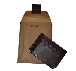 APOLLO - Mens Brown Leather Card Holder Thin Money Clip Wallet  - Belt N Bags