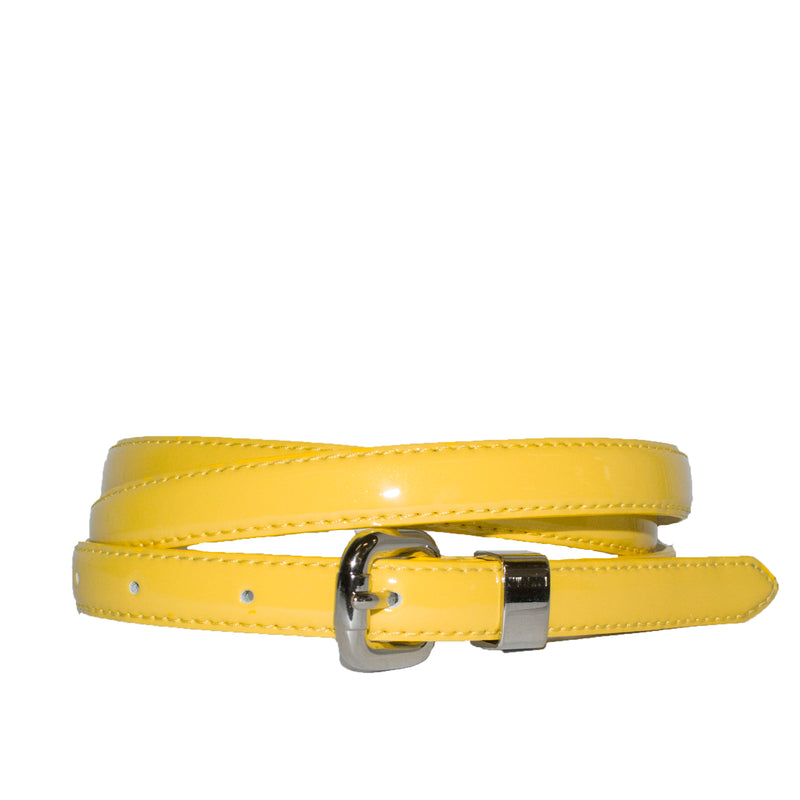CARRIE -  Womens Yellow Patent Skinny Leather Belt with Silver Buckle - BeltNBags