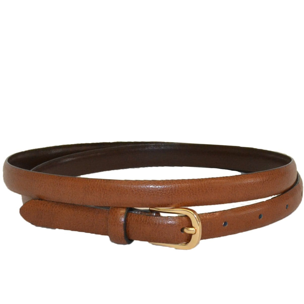 PIPER - Womens Tan Genuine Leather Skinny Belt  - Belt N Bags