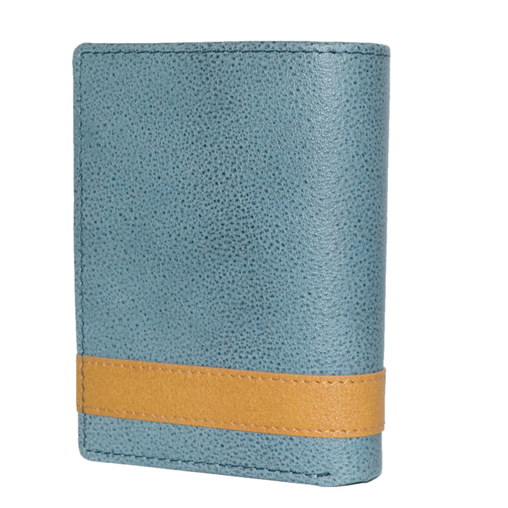 JUSTIN - Teal and Tan Genuine Leather Wallet - BeltNBags