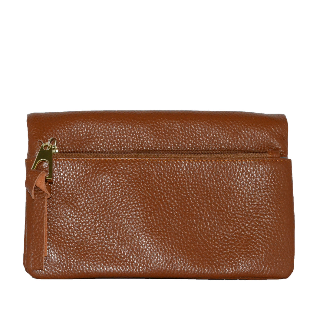 CREMORNE - Addison Road Brown Soft Pebbled Leather Fold Wallet - Belt N Bags