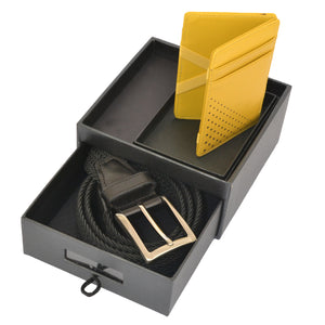 Mens Leather Wallet and Woven Black Belt Gift Pack - BeltNBags