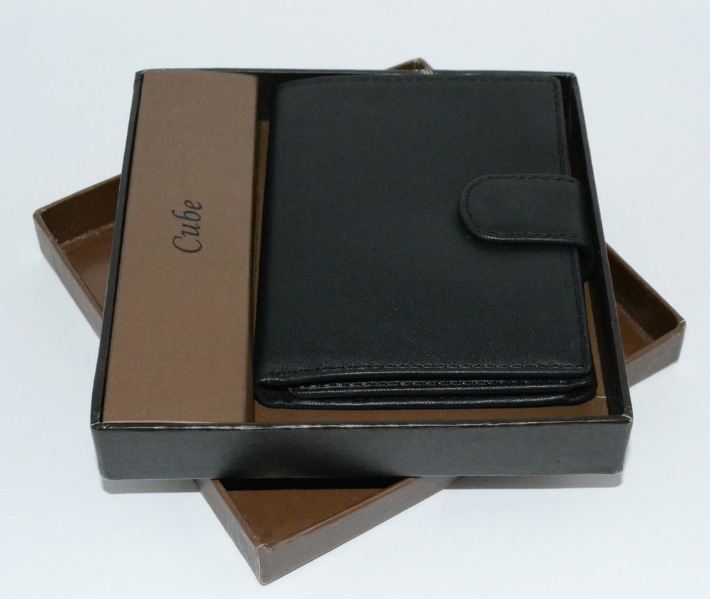 MORTEN -  Mens Black Leather Fold Wallet in Gift Box - BeltNBags
