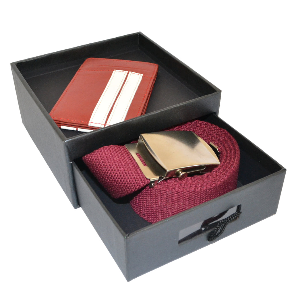 Mens Canvas Webbing Belt and Genuine Leather Wallet Gift Pack - BeltNBags