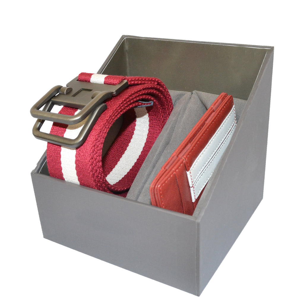 Mens Red Cotton Canvas Webbing Belt and Leather Wallet Gift Pack  - Belt N Bags