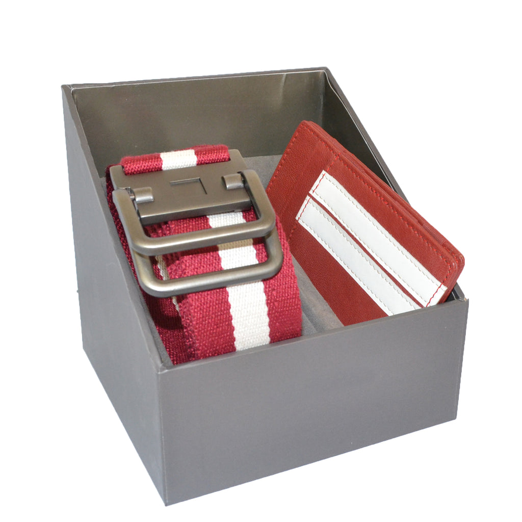 Mens Red Cotton Canvas Webbing Belt and Leather Wallet Gift Pack