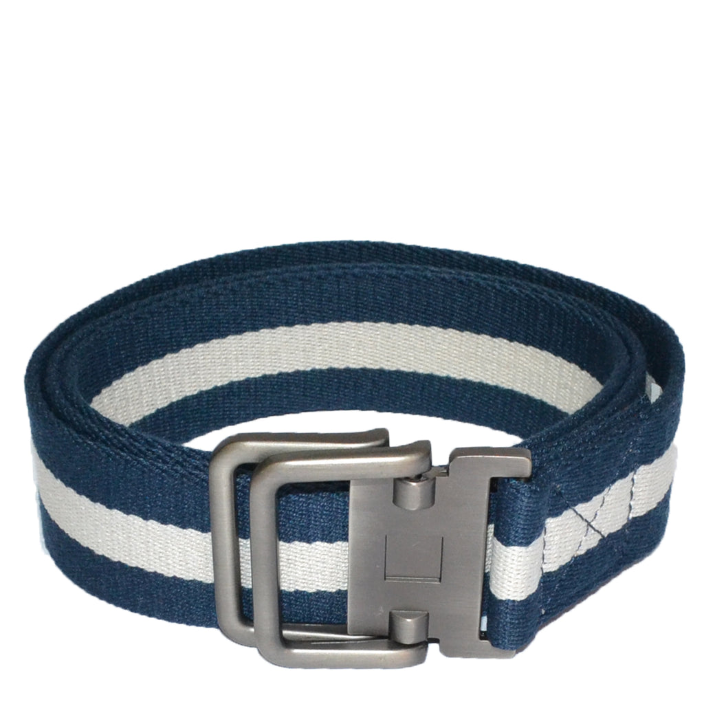 ZEUS - Mens Navy and White Cotton Canvas Webbing Belt with Slide Through Buckle - BeltNBags