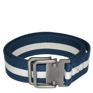 ZEUS - Mens Navy and White Cotton Canvas Webbing Belt with Slide Through Buckle