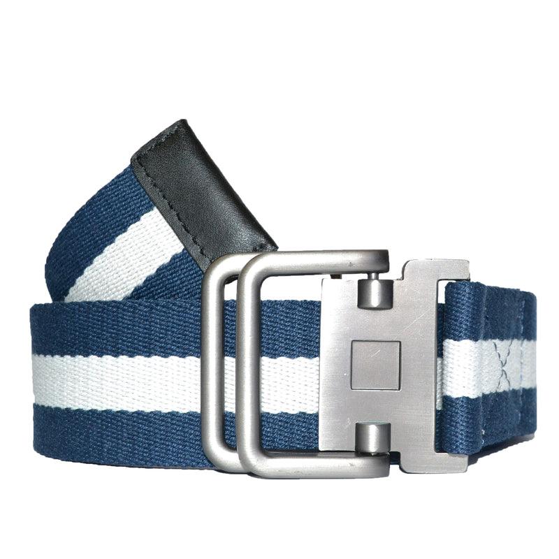 Men Navy White Cotton Canvas Webbing Belt with Slide Through Buckle