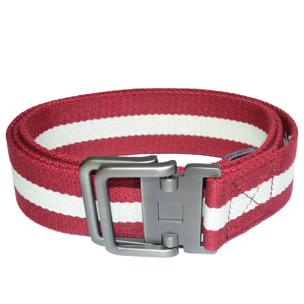 ZEUS - Mens Red and White Cotton Canvas Webbing Belt with Slide Through Buckle