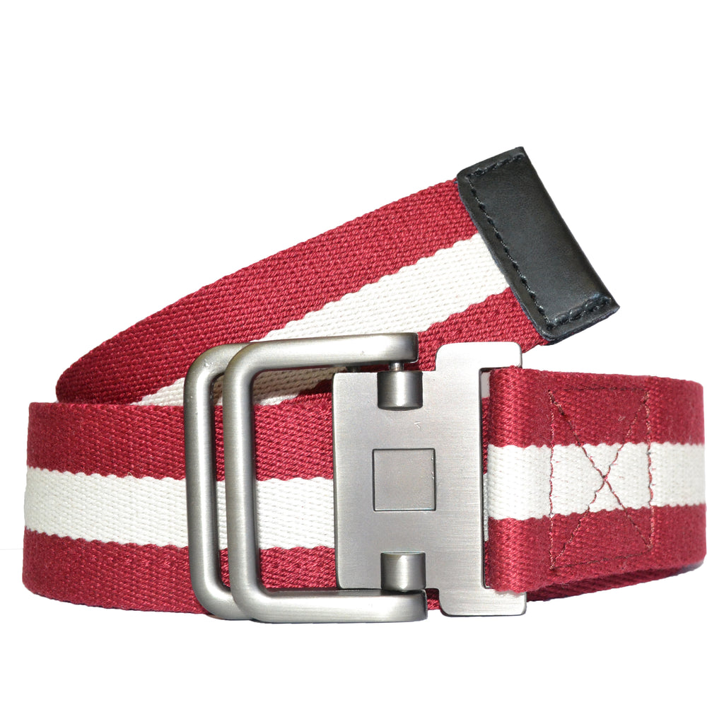 ZEUS - Mens Red and White Cotton Canvas Webbing Belt with Slide Through Buckle - BeltNBags