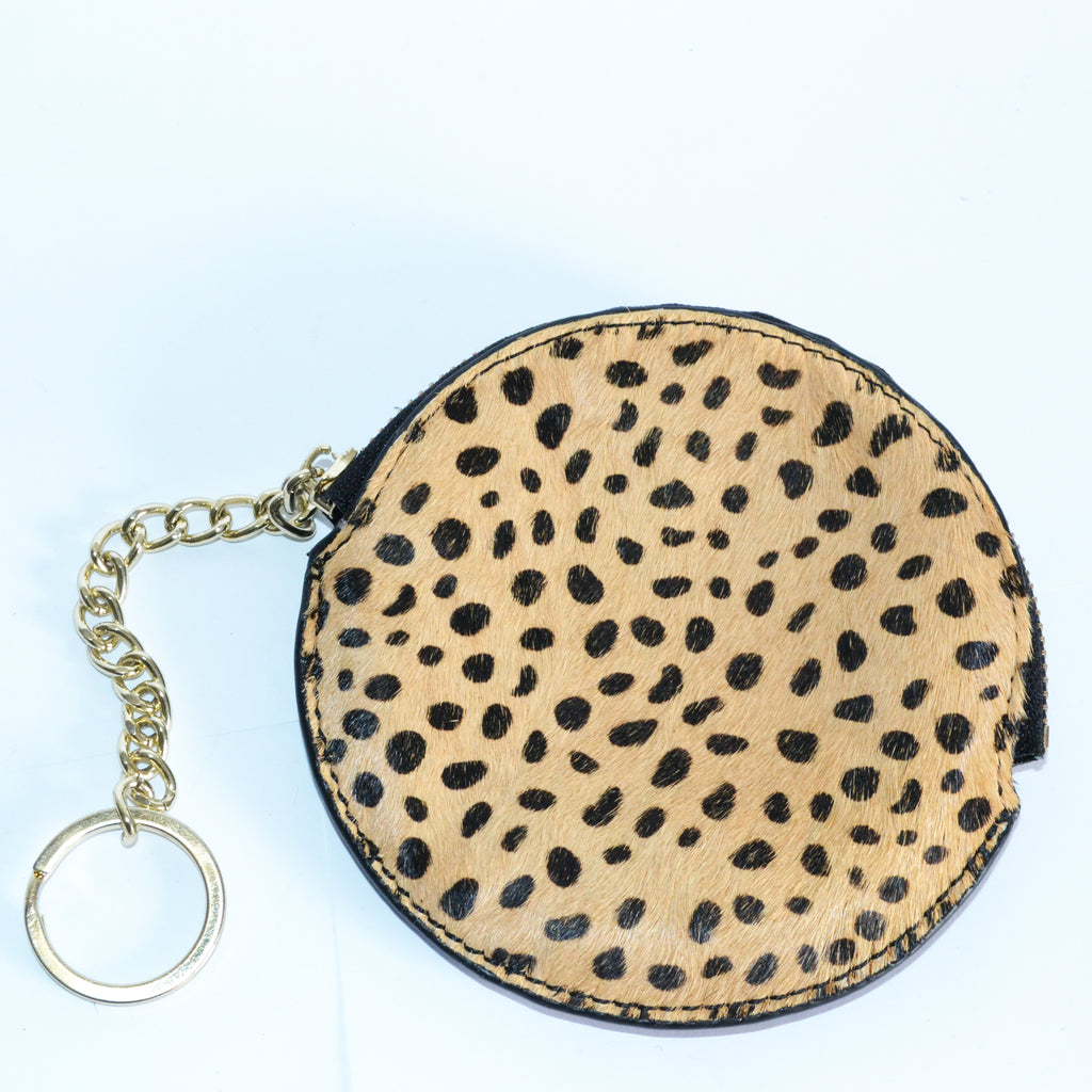 LORN- Ladies Leopard Calf Hair Key Ring Coin Purse  - Belt N Bags