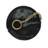 LORN - Ladies Black Calf Hair Gold tone Key Ring Coin Purse  - Belt N Bags