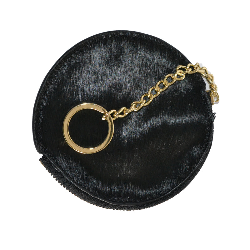 LORN - Ladies Black Calf Hair Gold tone Key Ring Coin Purse in Gift Box - BeltNBags