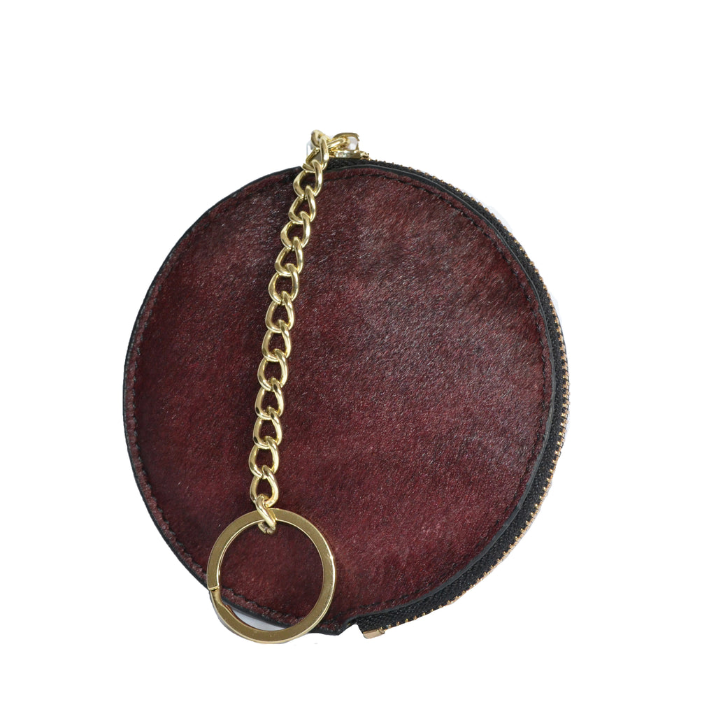 LORN - Ladies Dark Red Calf Hair Gold tone Key Ring Coin Purse  - Belt N Bags