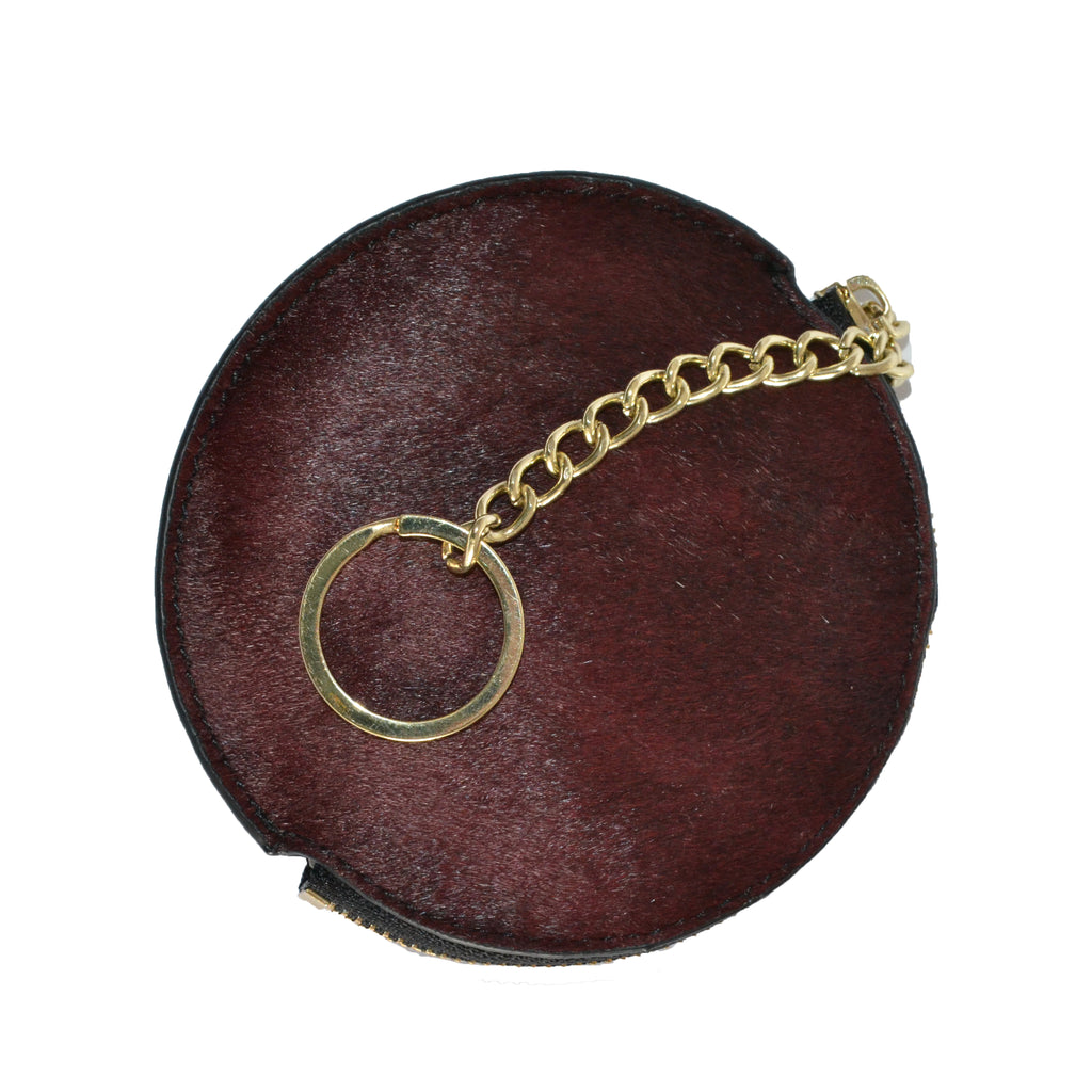 LORN - Ladies Dark Red Calf Hair Gold tone Key Ring Coin Purse in Gift Box - BeltNBags