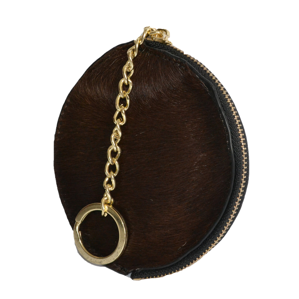 LORN - Ladies Dark Brown Calf Hair Gold tone Key Ring Coin Purse  - Belt N Bags