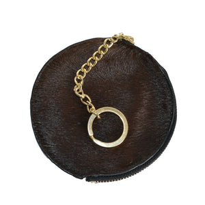 LORN - Ladies Dark Brown Calf Hair Gold tone Key Ring Coin Purse in Gift Box - BeltNBags