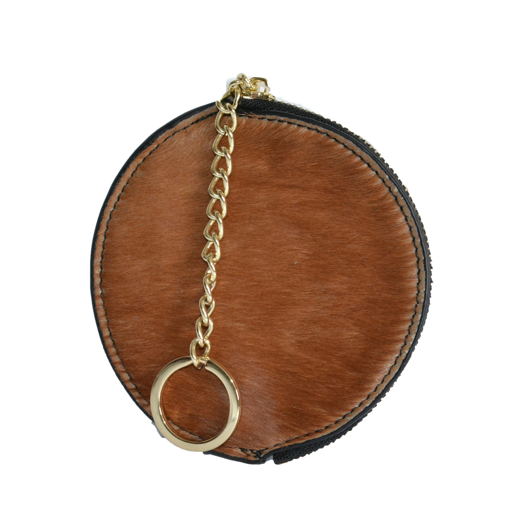 LORN- Ladies Tan Calf Hair Gold tone Key Ring Coin Purse  - Belt N Bags