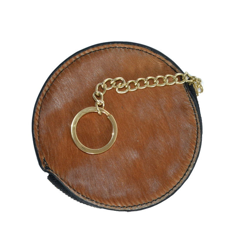 LORN- Ladies Tan Calf Hair Gold tone Key Ring Coin Purse in Gift Box - BeltNBags