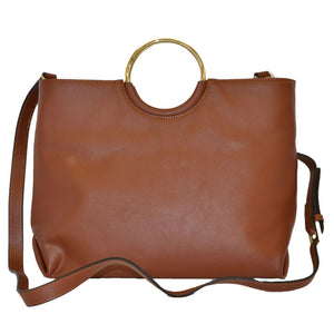 Millfield - Womens Tan Leather Ring Handle Tote Shoulder Crossbody Bag  - Belt N Bags