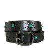 SHARNEE - Womens Black Genuine Leather Floral Laser Cut Design Belt