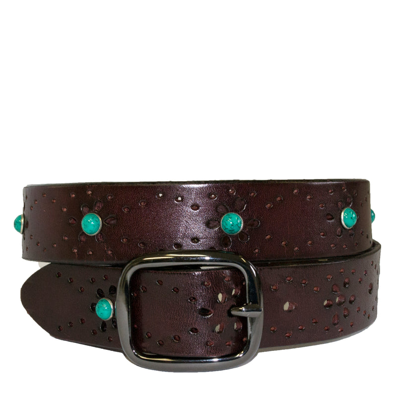SHARNEE - Womens Wine Red Genuine Leather Floral Laser Cut Design Belt