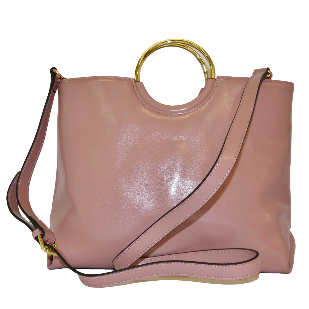 Pink Millfield Structured Leather Gold Ring Handle Bag - BeltNBags