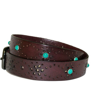 SHARNEE - Womens Wine Red Genuine Leather Floral Laser Cut Design Belt - BeltNBags