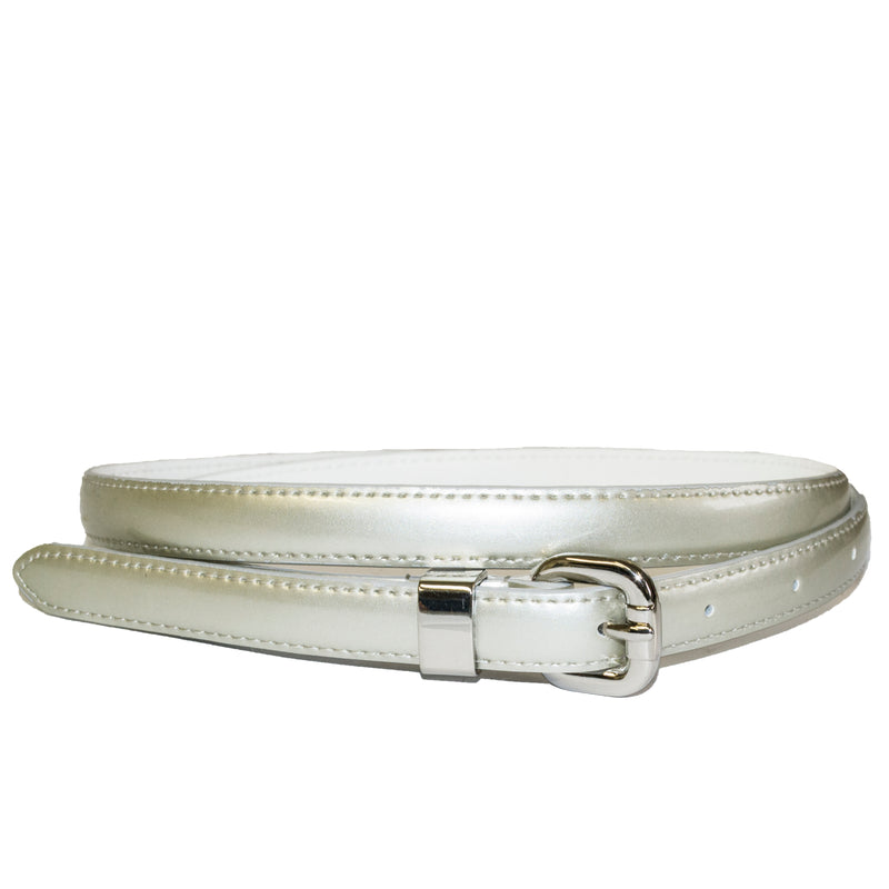 CARRIE - Womens Champagne Silver Genuine Leather Belt - BeltNBags