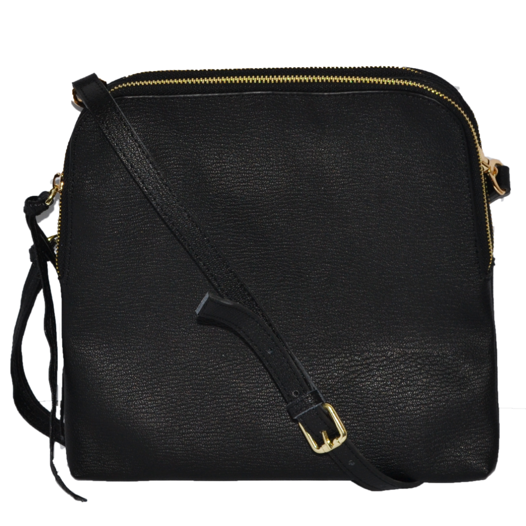 Ladies Black Leather Crossbody Shoulder Bag with Gold Hardware - BeltNBags