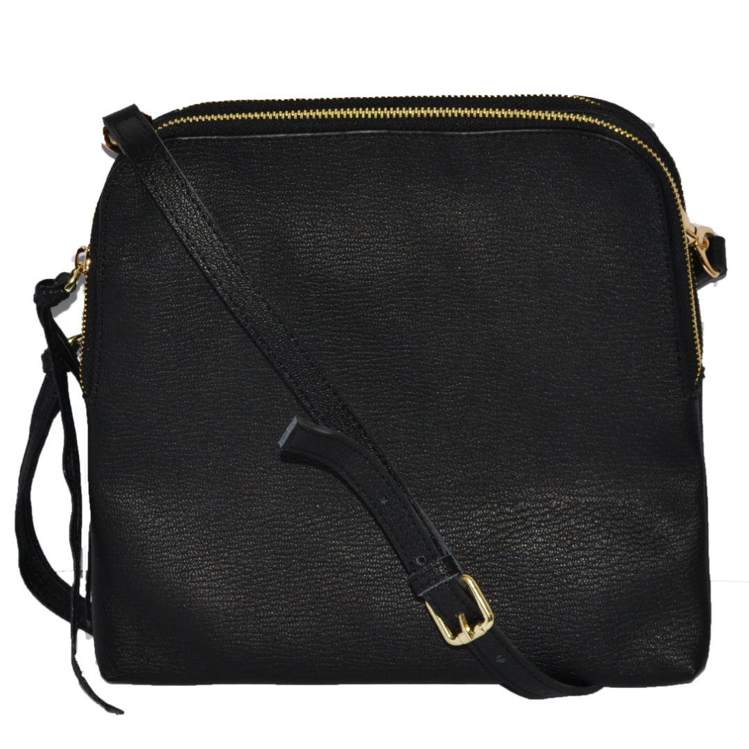 b46a1ef0ea01 Ladies Black Leather Crossbody Shoulder Bag with Gold Hardware - BeltNBags