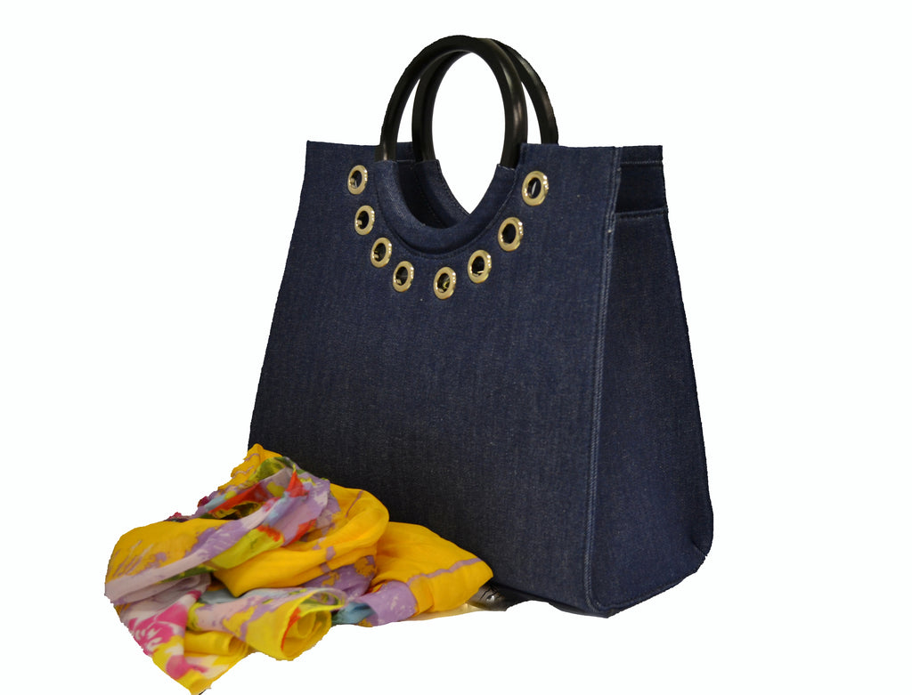 QUEENSCLIFF - Navy Denim Ring Handle Bag with Scarf - BeltNBags