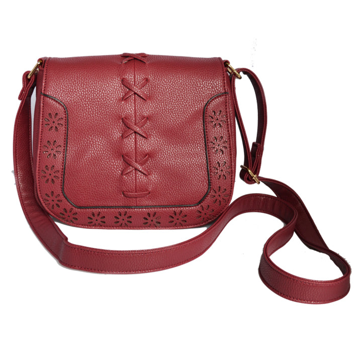 CAMELA - Red Faux Leather Saddle Shoulder Bag  - Belt N Bags